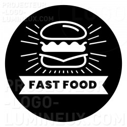Projection lumineuse Gobo Fast Food sur trottoir