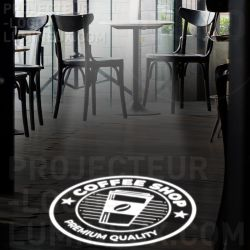 Bright logo projection on the floor or wall