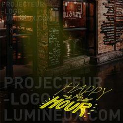 Publicité lumineuse Happy Hour bar restaurant pub
