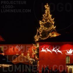 Illumination Marché de Noël par projection sur bâtiment