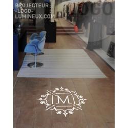 Projection logo lumineuse sol boutique, magasin et commerce