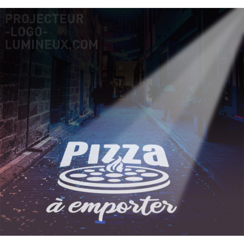 Light advertising outdoor pizzeria. LED projected pizzeria light sign
